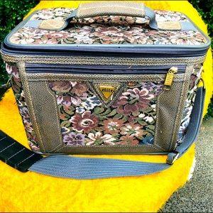 Vintage Elite Tapestry hard cover over night bag